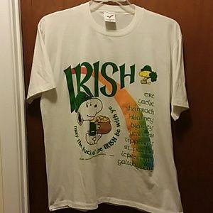 """Peanuts Tops - Snoopy """"Irish"""" T-shirt Size L"""